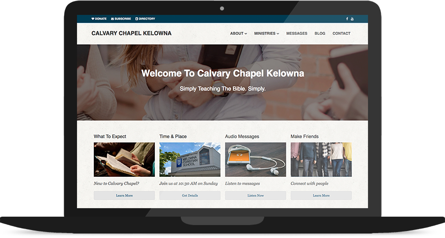 Church Website Design on a Laptop