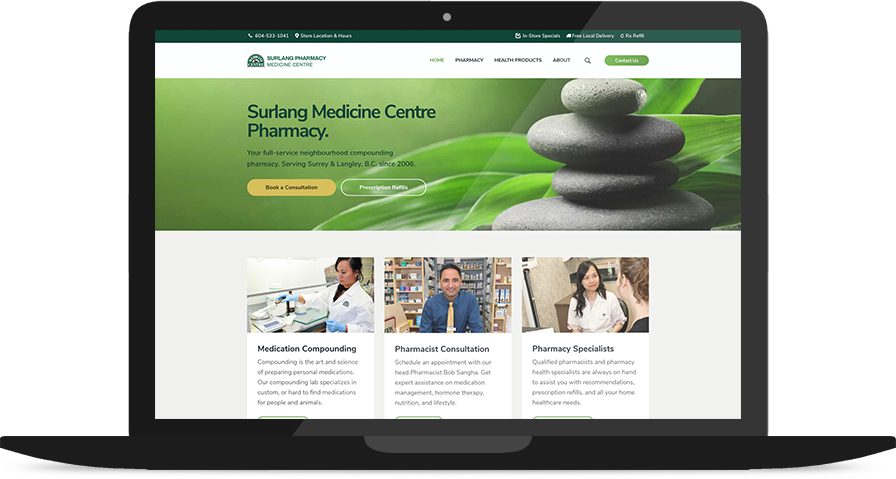 Website for Surlang Pharmacy on a Laptop