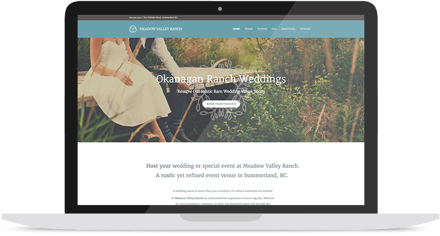 Wedding Venue Website Design on a Laptop