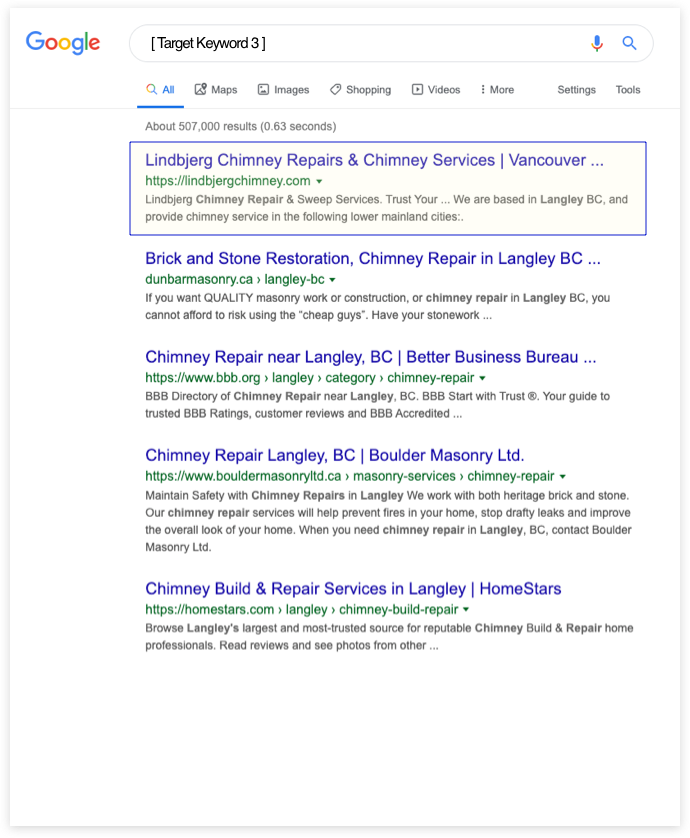 Chimney Business in Google Search Results